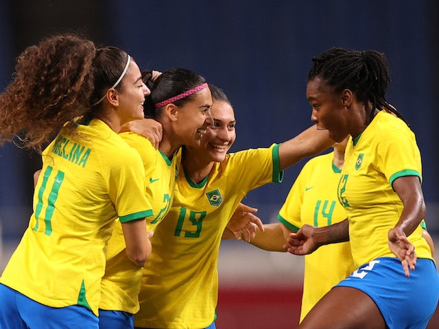 Andressa Alves of Brazil celebrates after scoring their first goal with teammates on July 27, 2021