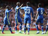 Chelsea's Tammy Abraham celebrates scoring their second goal on August 1, 2021