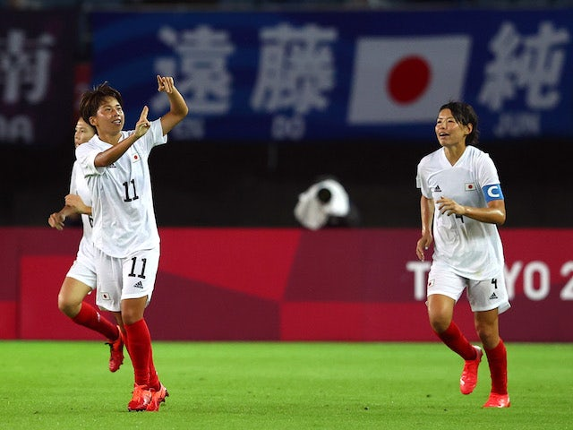 Mina Tanaka of Japan celebrates scoring their first goal on July 27, 2021