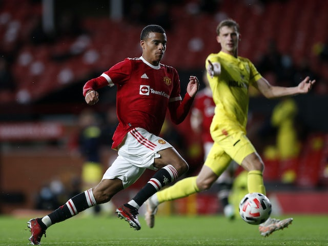 Manchester United's Mason Greenwood in action against Brentford in pre-season on July 28, 2021