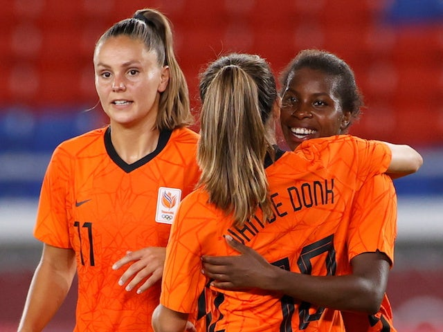 Lineth Beerensteyn of the Netherlands celebrates scoring their third goal with Danielle van de Donk of the Netherlands on July 27, 2021