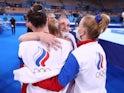 ROC celebrate winning women's team gymnastics gold at the Tokyo Olympics on July 27, 2021