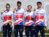 Team GB's triumphant triathletes on July 31, 2021