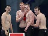Tom Dean, Matt Richards, James Guy and Duncan Scott celebrate winning gold for Team GB on July 28, 2021