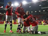 Manchester United's Andreas Pereira celebrates scoring against Brentford in pre-season on July 28, 2021