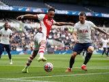 Arsenal's Pierre-Emerick Aubameyang in action against Tottenham Hotspur's Pierre-Emile Hojbjerg on August 8, 2021