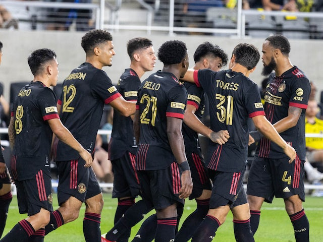 Atlanta United midfielder Marcelino Moreno (10) celebrates with his teammates after scoring a goal against Columbus Crew in the second half at Lower.com Stadium on August 7, 2021
