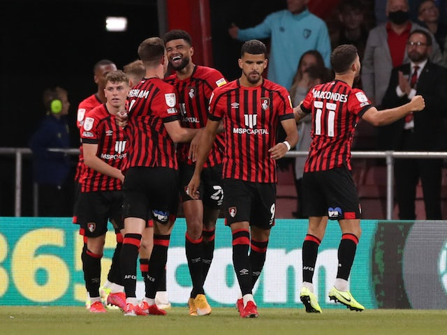 Bournemouth midfielder Philip Billing celebrates scoring their second goal with teammates on August 6, 2021