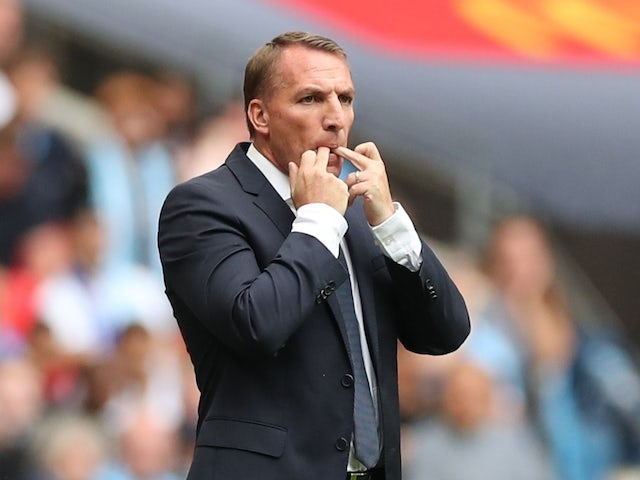 Leicester City manager Brendan Rodgers gives instructions to his players on August 7, 2021