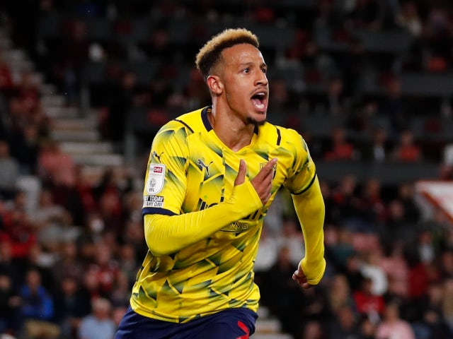Callum Robinson celebrates scoring for West Bromwich Albion against Bournemouth in the Championship on August 6, 2021