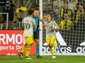 Columbus Crew forward Pedro Santos (7) grabs the ball from the goal after scoring against Atlanta United in the second half at Lower.com Stadium on August 8, 2021