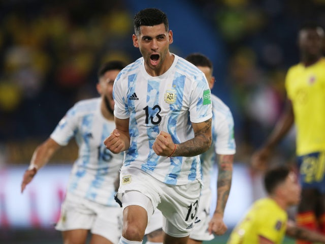 Cristian Romero in action for Argentina in June 2021