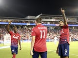 FC Dallas forward Jesus Ferreira (9) celebrates with teammates and fans after scoring a goal during the second half against Austin FC at Toyota Stadium on August 7, 2021