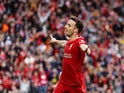 Liverpool's Diogo Jota celebrates scoring their first goal on August 8, 2021