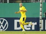 Borussia Dortmund's Erling Braut Haaland celebrates scoring their first goal on August 7, 2021