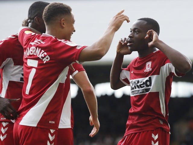 Middlesbrough's Marc Bola celebrates scoring against Fulham in the Championship on August 8, 2021