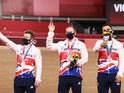 Silver medallists Ryan Owens of Britain, Jack Carlin of Britain and Jason Kenny of Britain celebrate on the podium on August 3, 2021
