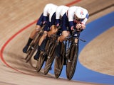 Team Great Britain in action during the men's team pursuit at the Tokyo Olympics