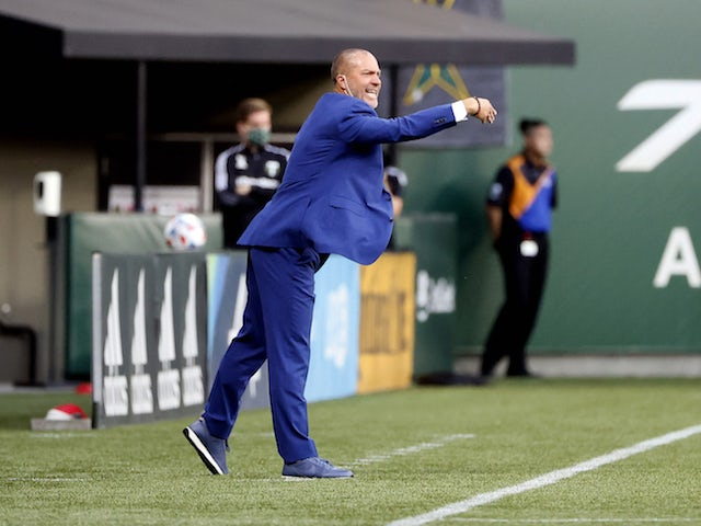 Portland Timbers head coach Giovanni Savarese directs his team against Real Salt Lake during the first half at Providence Park on August 7, 2021