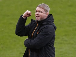 Hull City manager Grant McCann celebrates winning League One after the match on May 1, 2021
