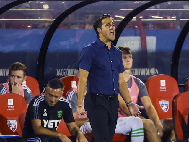 Austin FC head coach Josh Wolff reacts during the match against FC Dallas at Toyota Stadium on August 8, 2021