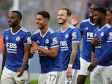 Leicester City's James Maddison celebrates with teammates after winning the FA Community Shield on August 7, 2021