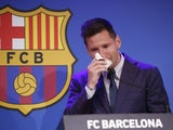 Lionel Messi bids farewell to Barcelona at a press conference on August 8, 2021