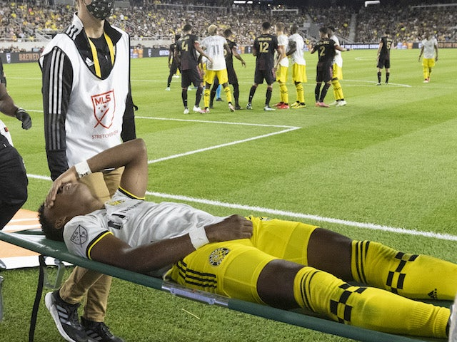 Columbus Crew midfielder Luis Diaz (12) is stretchered off the field after being fouled by Atlanta United in the second half at Lower.com Field on August 7, 2021