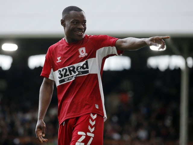 Middlesbrough's Marc Bola celebrates scoring their first goal on August 8, 2021