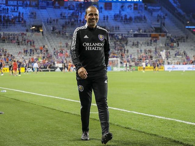 Orlando City SC head coach Oscar Pareja walks off the field at the end of the game against FC Cincinnati at TQL Stadium on August 7, 2021