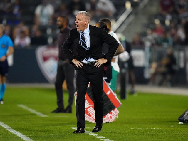Sporting Kansas City head coach Peter Vermes reacts on the sidelines in the second half against the Colorado Rapids at Dick's Sporting Goods Park on August 8, 2021