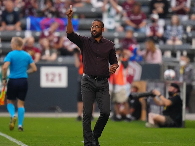 Colorado Rapids head coach Robin Fraser calls out in the first half against the Sporting Kansas City at Dick's Sporting Goods Park on August 7, 2021