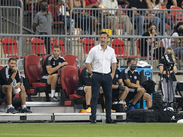 New York City head coach Ronny Deila shouts to his team during the first half against Toronto FC at BMO Field on August 8, 2021