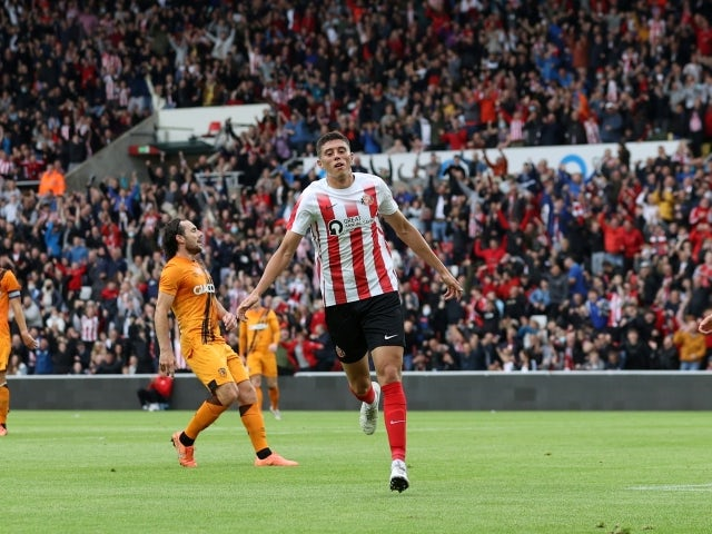Sunderland's Ross Stewart celebrates scoring their first goal against Hull City pictured on July 30, 2021