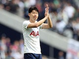 Tottenham Hotspur's Son Heung-min celebrates after the match on August 8, 2021