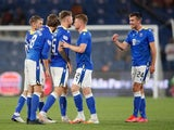 St Johnstone's Callum Booth reacts with teammates after the match on August 5, 2021