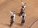 Team Germany celebrate setting a world record in the women's team pursuit at the Tokyo 2020 Olympics on August 2, 2021