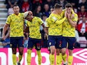 West Bromwich Albion's Dara O'Shea celebrates scoring their first goal with teammates on August 6, 2021