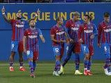 Barcelona's Memphis Depay celebrates scoring against Juventus on August 8, 2021