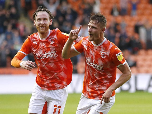 Blackpool's Callum Connolly celebrates scoring against Middlesbrough in the EFL Cup on August 11, 2021