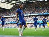 Chelsea's Marcos Alonso celebrates scoring against Crystal Palace in the Premier League on August 14, 2021