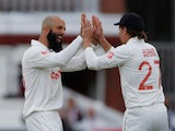 England's Moeen Ali celebrates the wicket of India's Mohammed Shami on August 13, 2021