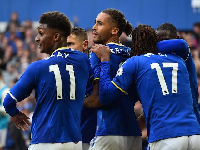 Everton's Dominic Calvert-Lewin celebrates scoring against Southampton in the Premier League on August 14, 2021