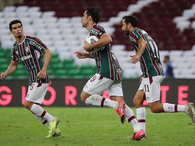 Fluminense's Fred celebrates scoring their second goal with teammates on August 13, 2021