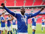 Leicester City's Kelechi Iheanacho celebrates after winning the FA Community Shield on August 7, 2021