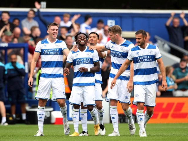 Queens Park Rangers' Moses Odubajo celebrates with teammates pictured on July 24, 2021
