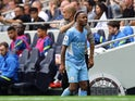 Manchester City's Raheem Sterling is substituted against Tottenham Hotspur in the Premier League on August 15, 2021