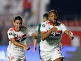 Sao Paulo's Luan celebrates scoring their first goal against Palmeiras, pictured on August 10, 2021