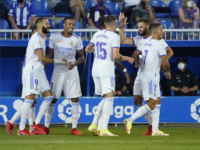 Real Madrid's Karim Benzema celebrates scoring against Alaves in La Liga on August 14, 2021