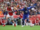 Arsenal's Pablo Mari in action with Chelsea's Romelu Lukaku in the Premier League on August 22, 2021